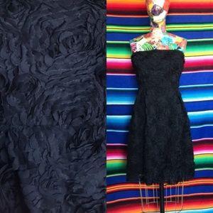 Zara Floral Textured 3D Strapless Cocktail Dress